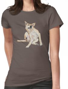 Cute funny germman shepherd cross breed dog scratching art  Womens Fitted T-Shirt