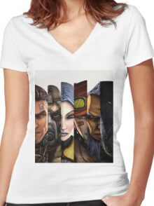 BOrderlands 2 Characters =2 Women's Fitted V-Neck T-Shirt