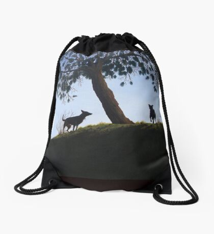 Dogs in park snow landscape painting realist art   Drawstring Bag