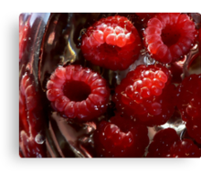 Raspberries Awash In Silver Bowl Canvas Print