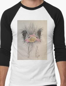 Goofy Angry Ostrich  Men's Baseball ¾ T-Shirt