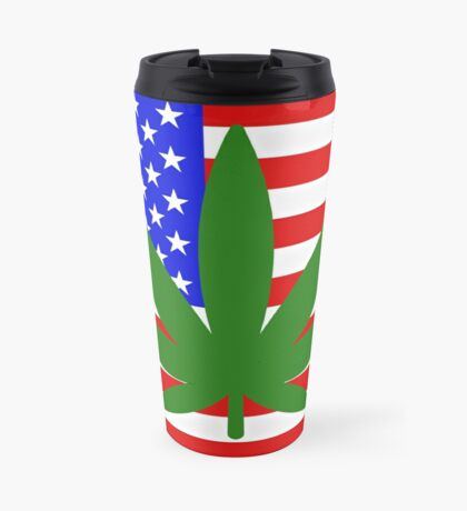 USA flag with a hemp leaf Travel Mug