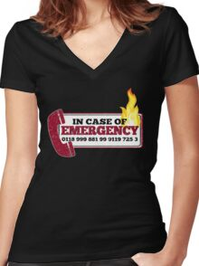 It Crowd Inspired - New Emergency Number - 0118 999 881 99 9119 725 3 - Moss and the Fire Women's Fitted V-Neck T-Shirt