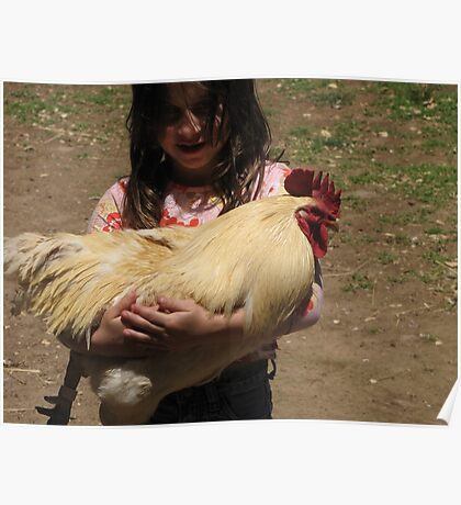 Girl With Chicken Poster