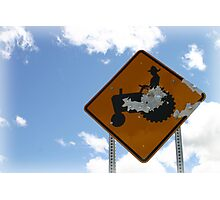 Farmer Crossing Sign Shot out Photographic Print