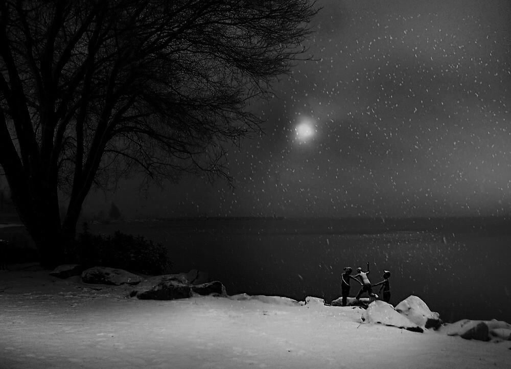 Moonlight Romp (bw) by John Poon