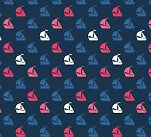 Summer pattern with boat. by HelgaScand