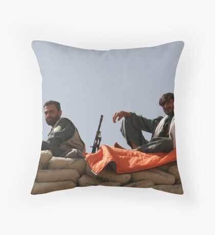 Two Afghan soldiers at war Throw Pillow