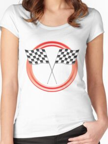 race flags Women's Fitted Scoop T-Shirt