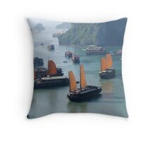 Junk Boats - Halong Bay, Vietnam Throw Pillow