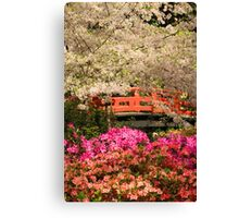 Red Bridge And Blossoms Canvas Print