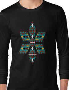 Navajo Teal Pattern Long Sleeve T-Shirt