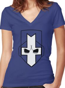Castle Crashers| Minimal Helmet Women's Fitted V-Neck T-Shirt