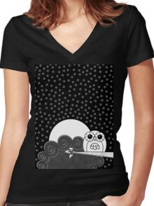 Whoot Owl Women's Fitted V-Neck T-Shirt