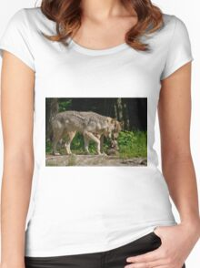 Timber Wolf And Pup Women's Fitted Scoop T-Shirt