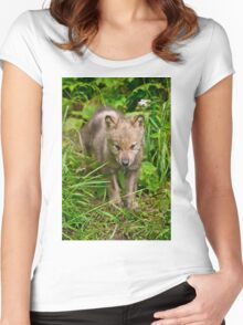 Timber Wolf Pup Women's Fitted Scoop T-Shirt