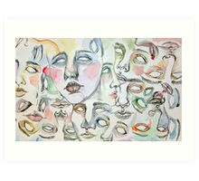 little watercolor faces Art Print