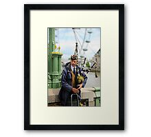 Candid Piper: Westminster Bridge and London Eye Framed Print