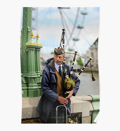 Candid Piper: Westminster Bridge and London Eye Poster