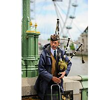 Candid Piper: Westminster Bridge and London Eye Photographic Print