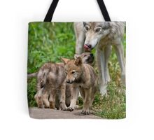 Timber Wolf And Pups Tote Bag