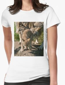 Timber Wolf Pup Womens Fitted T-Shirt