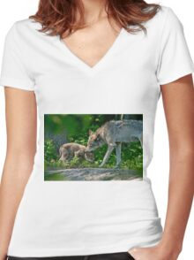Timber Wolf And Pup Women's Fitted V-Neck T-Shirt