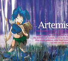 Chibi Artemis - Greek Gods, Blue Series by Kita Parnell