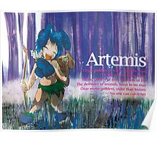 Chibi Artemis - Greek Gods, Blue Series Poster