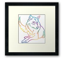 Multicoloured graphic wolf Framed Print