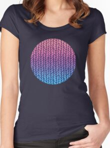 Chunky Knit Pattern in Pink, Blue & Purple Women's Fitted Scoop T-Shirt