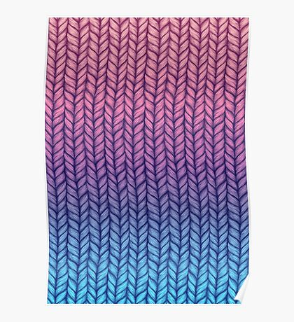 Chunky Knit Pattern in Pink, Blue & Purple Poster