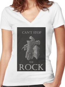 Can't stop the rock Women's Fitted V-Neck T-Shirt
