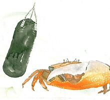 Crab on boxing bag by Susan Dowrie