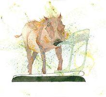 Warthog on jogging machine by Susan Dowrie