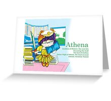 Chibi Athena - Greek Gods, Blue Series Greeting Card