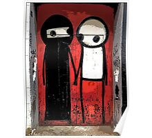 Street art by Stik in the Shoreditch area of London Poster