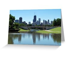 Lincoln Park Zoo - Skyline Reflection Greeting Card