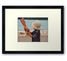 Holding Tight To Daddy! Framed Print
