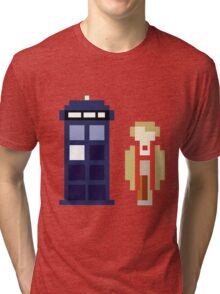 Pixel 5th Doctor and TARDIS Tri-blend T-Shirt