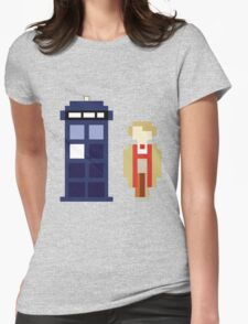 Pixel 5th Doctor and TARDIS Womens Fitted T-Shirt