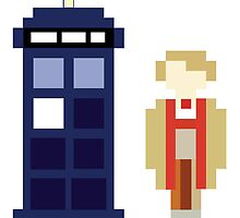 Pixel 5th Doctor and TARDIS by ObscureM