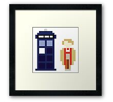 Pixel 5th Doctor and TARDIS Framed Print