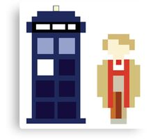 Pixel 5th Doctor and TARDIS Canvas Print