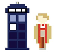 Pixel 5th Doctor and TARDIS Photographic Print