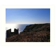Cornish mine in winter evening sun Art Print