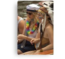 Indians and sailors Canvas Print