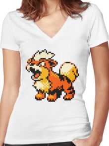Pokemon - Growlithe Women's Fitted V-Neck T-Shirt