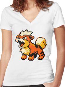 Pokemon - Growlithe Women's Fitted V-Neck T-Shirt