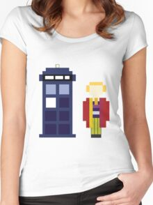 Pixel 6th Doctor and TARDIS Women's Fitted Scoop T-Shirt